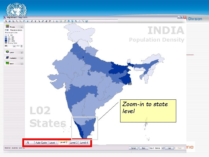 INDIA Population Density L 02 States Zoom-in to state level