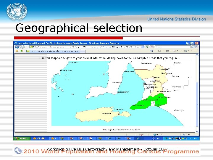 Geographical selection Use this map to navigate to your area of interest by drilling