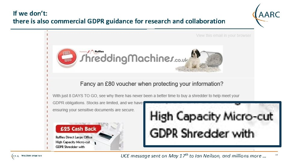 If we don't: there is also commercial GDPR guidance for research and collaboration http:
