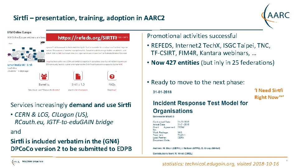 Sirtfi – presentation, training, adoption in AARC 2 https: //refeds. org/SIRTFI Promotional activities successful