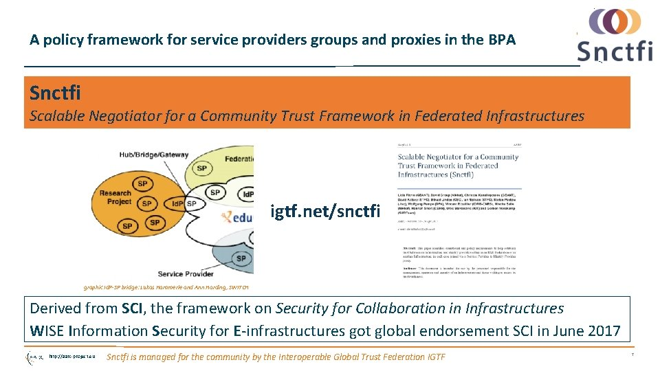 A policy framework for service providers groups and proxies in the BPA Snctfi Scalable