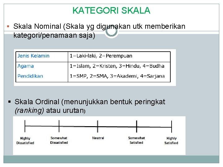KATEGORI SKALA § Skala Nominal (Skala yg digunakan utk memberikan kategori/penamaan saja) § Skala