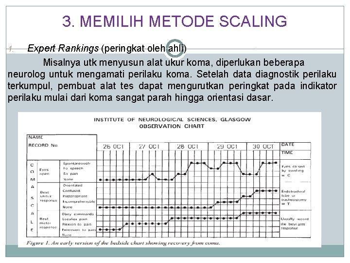 3. MEMILIH METODE SCALING Expert Rankings (peringkat oleh ahli) Misalnya utk menyusun alat ukur