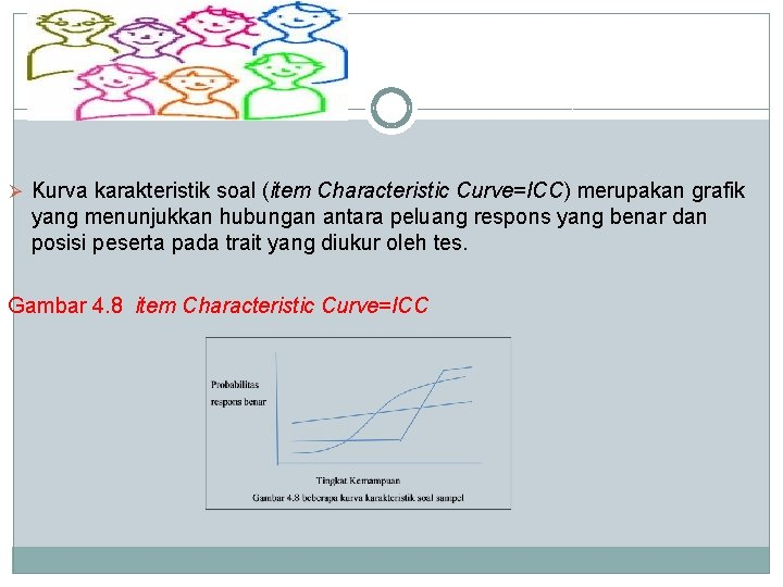 Ø Kurva karakteristik soal (item Characteristic Curve=ICC) merupakan grafik yang menunjukkan hubungan antara peluang