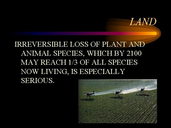 LAND IRREVERSIBLE LOSS OF PLANT AND ANIMAL SPECIES, WHICH BY 2100 MAY REACH 1/3