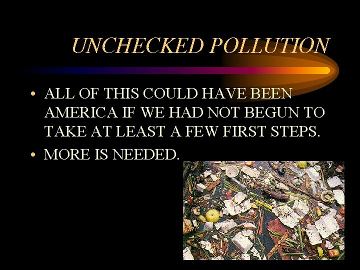 UNCHECKED POLLUTION • ALL OF THIS COULD HAVE BEEN AMERICA IF WE HAD NOT