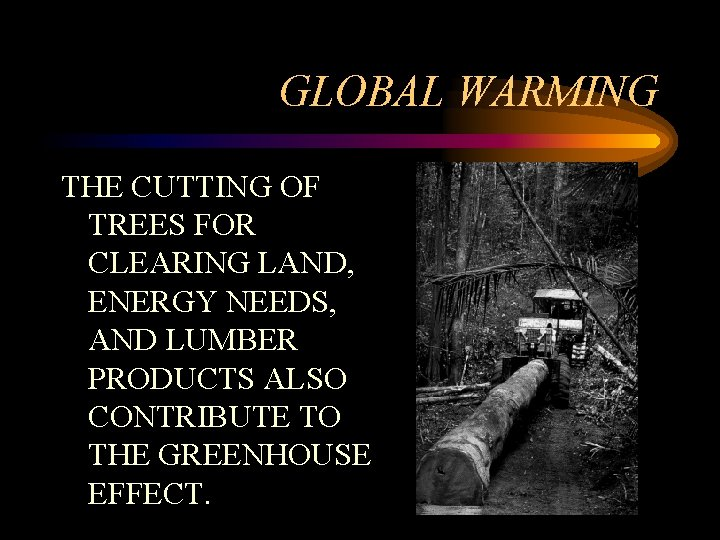 GLOBAL WARMING THE CUTTING OF TREES FOR CLEARING LAND, ENERGY NEEDS, AND LUMBER PRODUCTS