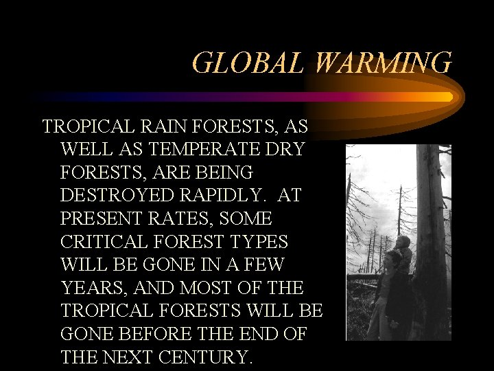 GLOBAL WARMING TROPICAL RAIN FORESTS, AS WELL AS TEMPERATE DRY FORESTS, ARE BEING DESTROYED