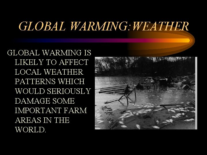 GLOBAL WARMING: WEATHER GLOBAL WARMING IS LIKELY TO AFFECT LOCAL WEATHER PATTERNS WHICH WOULD
