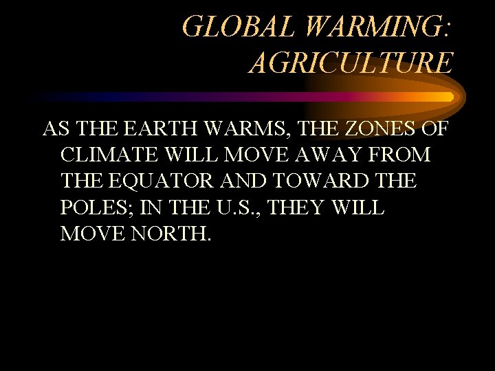 GLOBAL WARMING: AGRICULTURE AS THE EARTH WARMS, THE ZONES OF CLIMATE WILL MOVE AWAY