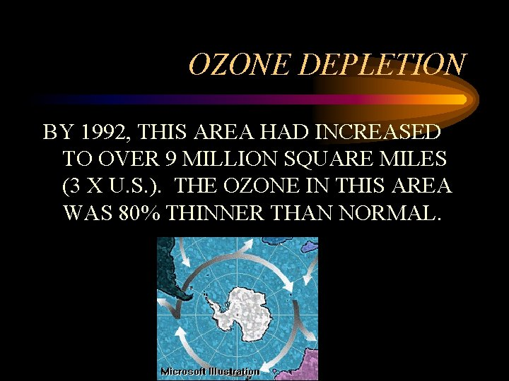 OZONE DEPLETION BY 1992, THIS AREA HAD INCREASED TO OVER 9 MILLION SQUARE MILES