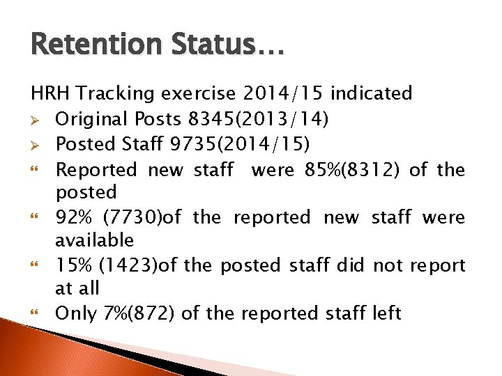 Retention Status… HRH Tracking exercise 2014/15 indicated Ø Original Posts 8345(2013/14) Ø Posted Staff