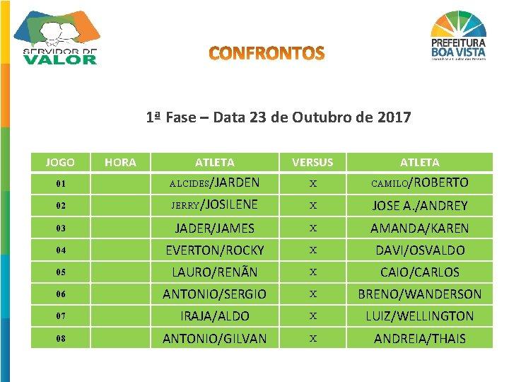 1ª Fase – Data 23 de Outubro de 2017 JOGO HORA ATLETA VERSUS ATLETA