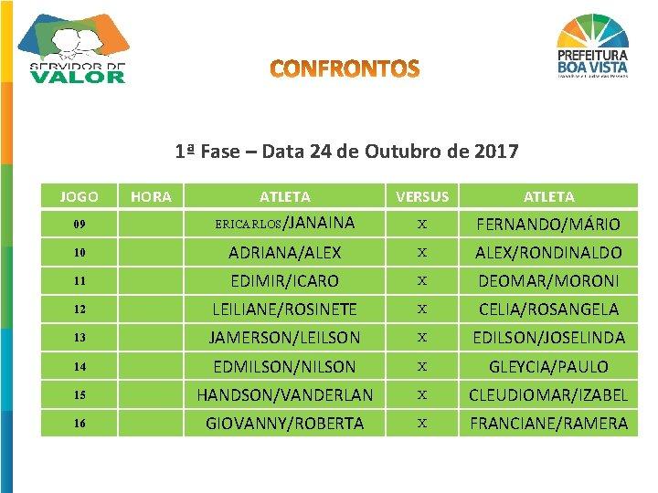 1ª Fase – Data 24 de Outubro de 2017 JOGO HORA ATLETA VERSUS ATLETA