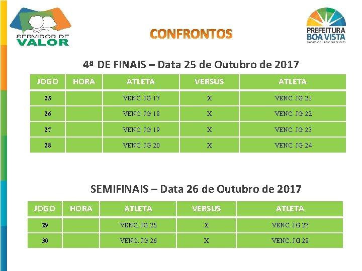 4ª DE FINAIS – Data 25 de Outubro de 2017 JOGO HORA ATLETA VERSUS