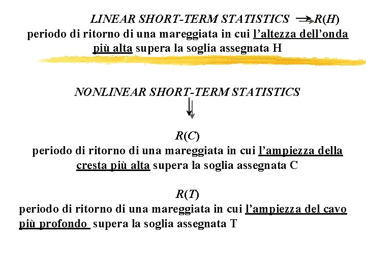 go LINEAR SHORT-TERM STATISTICS R(H) periodo di ritorno di una mareggiata in cui l'altezza