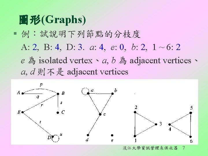 圖形(Graphs) § 例:試說明下列節點的分枝度 A: 2, B: 4, D: 3. a: 4, e: 0, b: