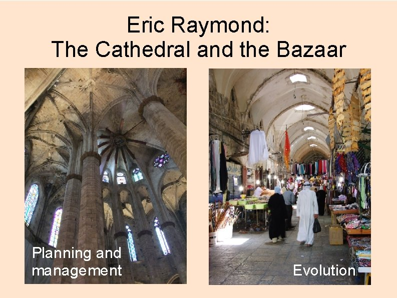 Eric Raymond: The Cathedral and the Bazaar Planning and management Evolution