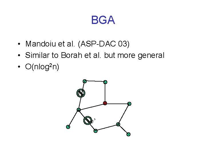 BGA • Mandoiu et al. (ASP-DAC 03) • Similar to Borah et al. but