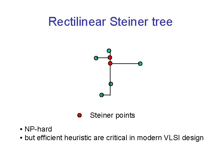Rectilinear Steiner tree Steiner points • NP-hard • but efficient heuristic are critical in