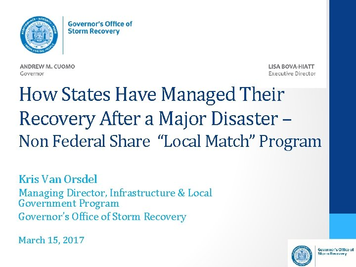 How States Have Managed Their Recovery After a Major Disaster – Non Federal Share