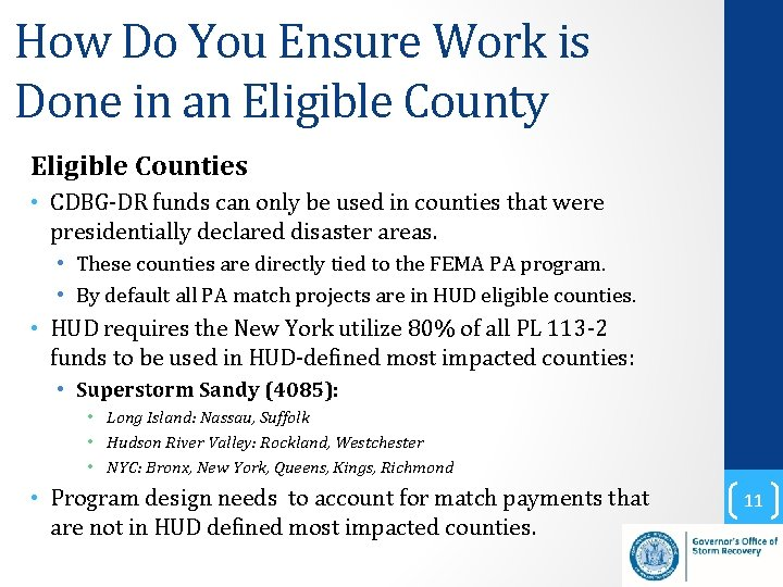 How Do You Ensure Work is Done in an Eligible County Eligible Counties •