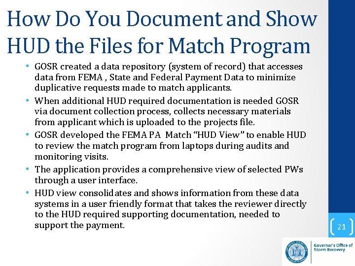 How Do You Document and Show HUD the Files for Match Program • GOSR