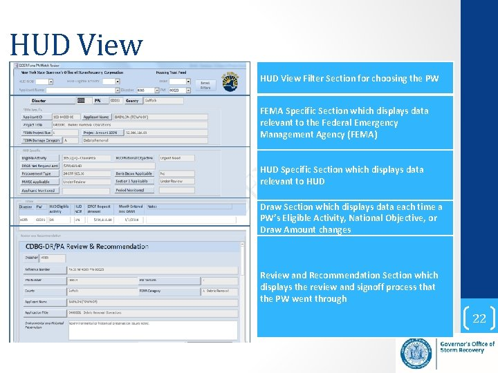 HUD View Filter Section for choosing the PW FEMA Specific Section which displays data