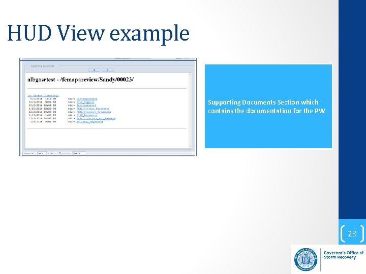 HUD View example Supporting Documents Section which contains the documentation for the PW 23