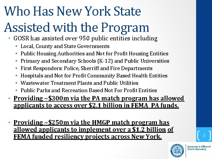 Who Has New York State Assisted with the Program • GOSR has assisted over