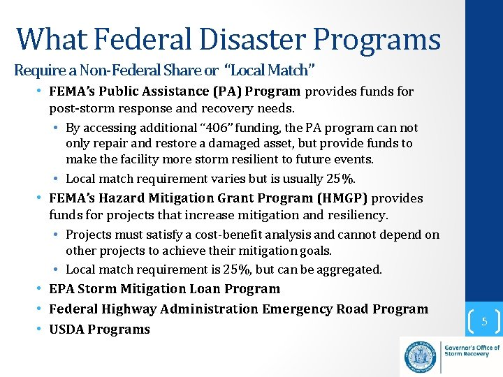"""What Federal Disaster Programs Require a Non-Federal Share or """"Local Match"""" • FEMA's Public"""