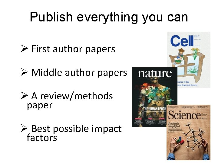 Publish everything you can Ø First author papers Ø Middle author papers Ø A