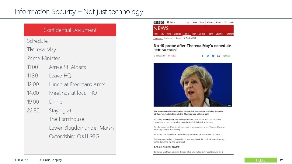 Information Security – Not just technology Confidential Document Schedule TM Theresa May Prime Minister
