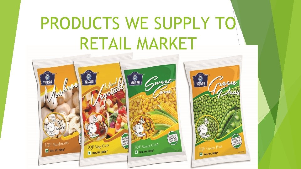 PRODUCTS WE SUPPLY TO RETAIL MARKET