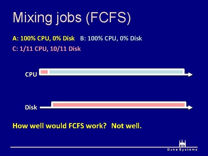 Mixing jobs (FCFS) A: 100% CPU, 0% Disk B: 100% CPU, 0% Disk C:
