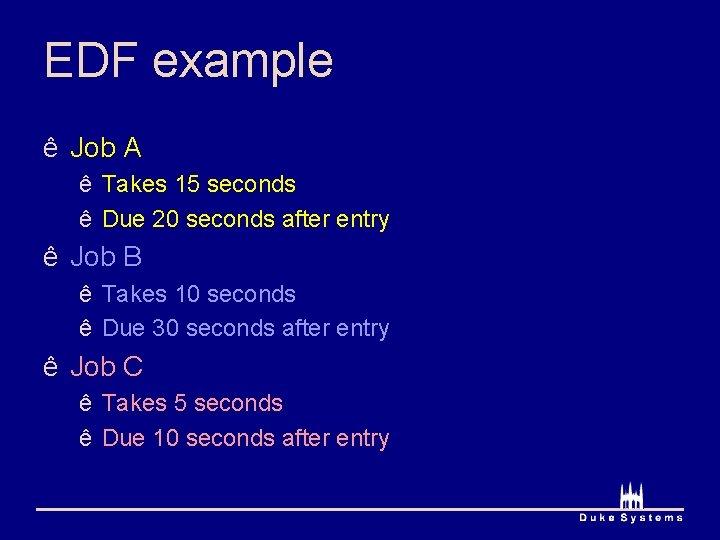 EDF example ê Job A ê Takes 15 seconds ê Due 20 seconds after
