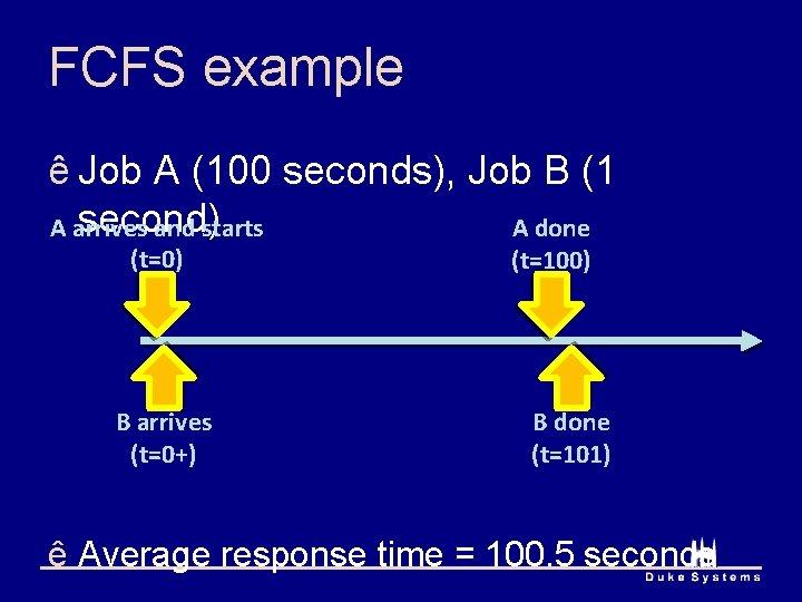 FCFS example ê Job A (100 seconds), Job B (1 second) A arrives and