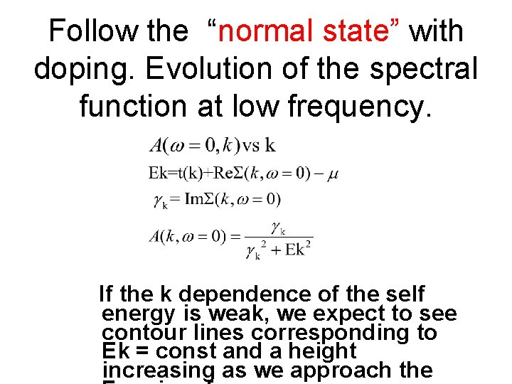 """Follow the """"normal state"""" with doping. Evolution of the spectral function at low frequency."""
