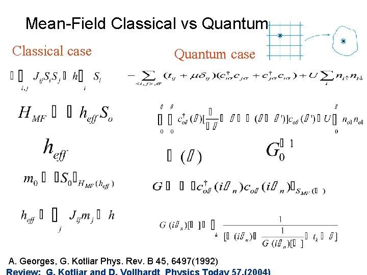 Mean-Field Classical vs Quantum Classical case Quantum case A. Georges, G. Kotliar Phys. Rev.