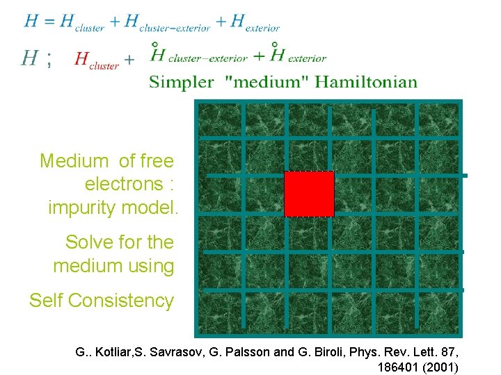 Medium of free electrons : impurity model. Solve for the medium using Self Consistency