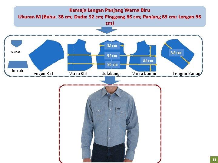 Kemeja Lengan Panjang Warna Biru Ukuran M (Bahu: 38 cm; Dada: 92 cm; Pinggang