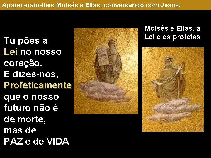 Apareceram-lhes Moisés e Elias, conversando com Jesus. Tu pões a Lei no nosso coração.
