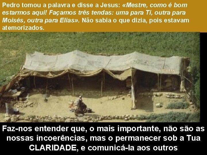 Pedro tomou a palavra e disse a Jesus: «Mestre, como é bom estarmos aqui!