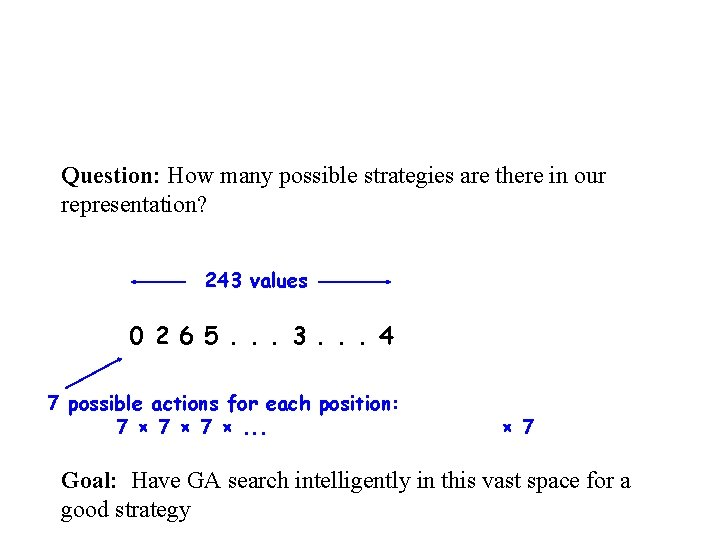 Question: How many possible strategies are there in our representation? 243 values 0 2