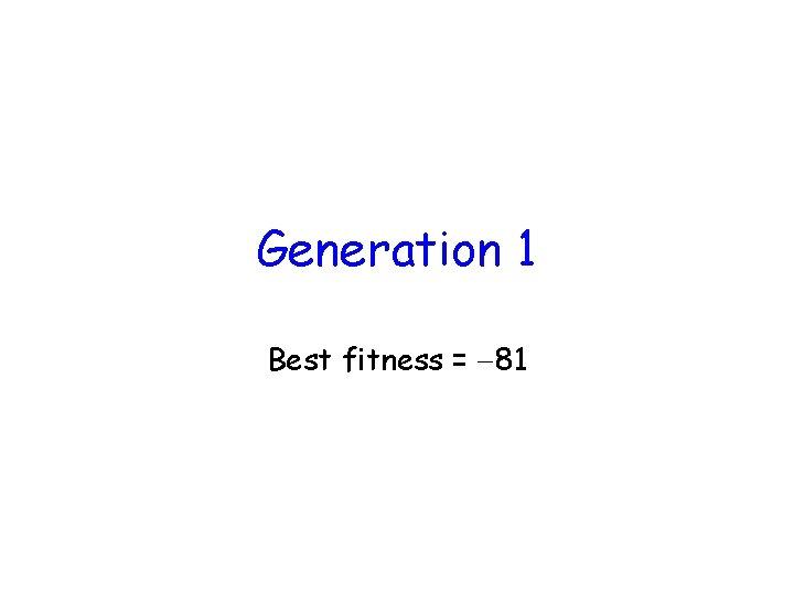 Generation 1 Best fitness = 81