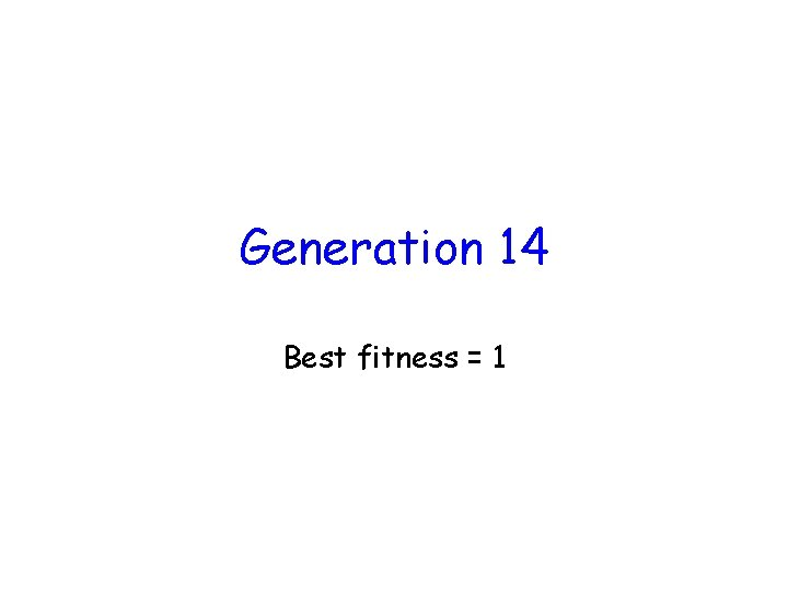 Generation 14 Best fitness = 1