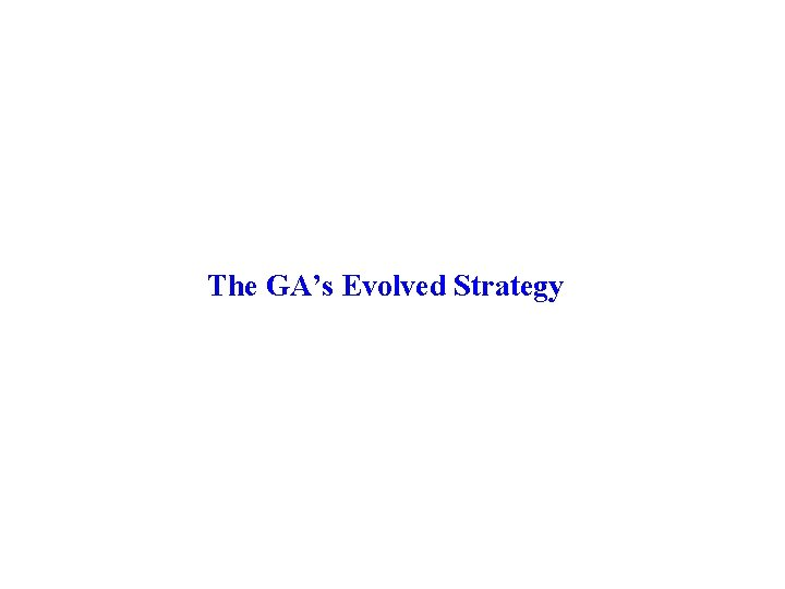The GA's Evolved Strategy