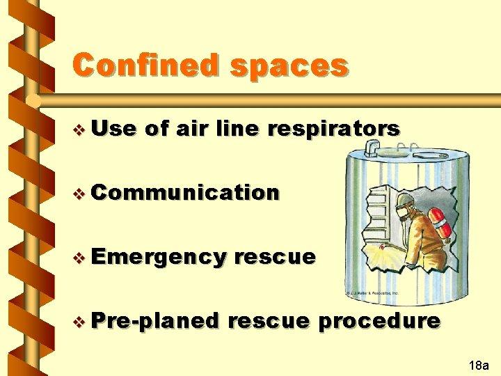 Confined spaces v Use of air line respirators v Communication v Emergency v Pre-planed