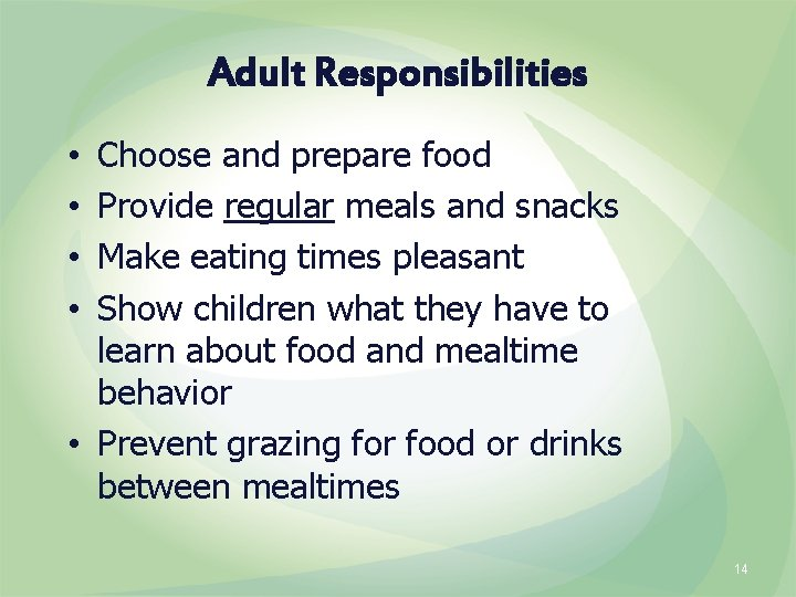 Adult Responsibilities Choose and prepare food Provide regular meals and snacks Make eating times