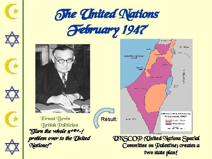"""The United Nations February 1947 Ernest Bevin British Politician """"Turn the whole %#*#^! problem"""